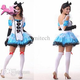 Cosplay Cosplay D'alice Alice Pas Cher-Costumes de bande dessinée en gros Alice Fantasy Wonderland Fluffy princesse robe halloween cosplay Plus Size costume carvinal pour les femmes FM001
