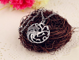Discount game thrones daenerys pendant 2015 new arrival necklace Flim Jewelry Daenerys Targaryen Dragon Necklace Game of Throne Fire And Blood free shipping