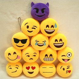 $enCountryForm.capitalKeyWord Canada - Hot Sale Emoji Small Pendant 8X8cm Dolls Smile Plush Keychain, Yellow Soft Plush Toys Hobbies Key Bag Chain Phone Pendant Boys Girls Favor
