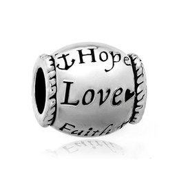 Chinese  Love faith hope Bead Metal Slider Big Hole European Spacer Charms Fit Pandora Chamilia Biagi Charm Bracelet manufacturers
