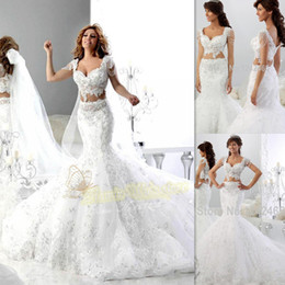 Barato Vestido De Noiva Trompete Querida-2 Pieces Vestidos de casamento 2016 White Lace Cap Sleeves Beaded Sweetheart Dois pedaços Bridal Gowns Mermaid Trumpet Unique Informal Bride Dress