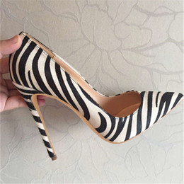 30292de8f1 Free shipping Zebra pony hair point toe high heels shoes pumps 100% real  photo real leather thin heels 120mm 100mm