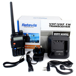 Dual Band Uhf Vhf Portable Canada - Wholesale-Brand New RETEVIS RT-5R Radio Walkie Talkie 5W 128CH UHF VHF Dual Band Portable Ham CB Two Way Radio DTMF VOX FM Radio A7105A