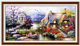 $enCountryForm.capitalKeyWord Australia - New Design Diy Handmade Needlework Cross Stitch Set Embroidery Kit Printed Garden Cottage Design Stitching 64 *37cm Decoration