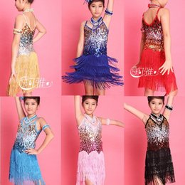 Latin Dance Performance Costumes Canada - High Quality Children Kids Sequin Fringe Performance Ballroom Dance Costume Latin Dance Dress For Girls + Collar + Arm Chain