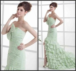 Robe Formelle De Corsage Pas Cher-Mint Green Robes de soirée bustier perles Bow Tight -Split Robe à volants balayage train Parti Robes Corset Bodice mousseline Tenue de soirée SHJ
