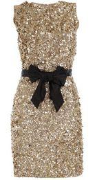 $enCountryForm.capitalKeyWord UK - Champagne Sequin Glitter Short Cocktail Dresses Black Bow Sash Knee Length Sheath Mini Party Dress 2015 New Design Evening Gown
