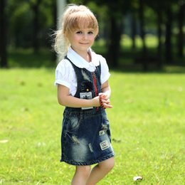 Fashion kids jeans online shopping - New Design Retail Cotton Girls Denim Overalls Dresses Fashion Kids Jean Dress Causal Children Clothing GD80922