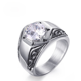 $enCountryForm.capitalKeyWord Canada - Wholesale Single Big Gemstone Rings High Polished Stainless Steel Rings EURO-US Style White Shiny Cubic Zirconia Diamond Ring For Men