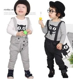 Discount pocket pc new - 2 Color Boy and girl cat Suits 2015 new children Cartoon cat Long sleeved T-shirt + Straps trousers 2 pcs Suits B001