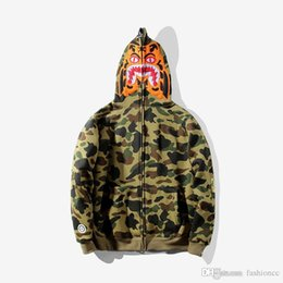zipper mouth UK - Men's Camouflage Tiger Print Hoodies Sportswear Tracksuit Zipper Fleece Shark Mouth Sweatshirts 6 Colors Fashion Hip Hop Hoodie