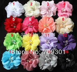 "Discount flat hair color - 100pc 2 ""Wholesale Cheap Chiffon Flower for Newborn Headband ,Boy and Girls Flowers Flat Back 31 Colors Available F"