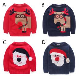 df10f2a3ceb35 4 couleur enfants père Noël dessin animé cerf chandails 2015 nouveau garçons  filles tricot cardigan à