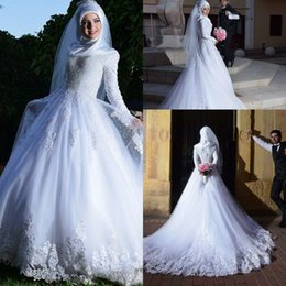 Wholesale 2018 New Muslim Long Sleeves A line Wedding Dresses Lace Appliques Corset Back Plus Size Arabic Bridal Gowns with Chapel Train