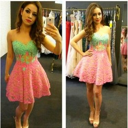 Barato Decote Cor De Rosa Querido Beading-Short Prom Dresses 2015 Sweetheart Neckline Appliques Beading Sequins Pink e Green Color Mini Evening Cocktail Dresses