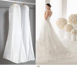 Dust bag Dresses online shopping - 2019 Cheap No Logo Wedding Dresses With Long Train Bag Garment Cover Travel Storage Dust Cover Plus Size cm White Wedding Accessories