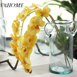 Wholesale Flowers For Wreaths Canada - 2pcs Lot Artificial Phalaenopsis Orchid Latex Flowers Real Touch For Home Table Wedding Decorative Flores Wreath Diy Accessories