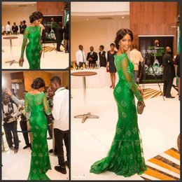 Barato Tapete Vermelho Vestido Longo Barato-2017 Vestido Vermelho Vestido Miss Nigeria Gorgeous Prom Dresses Green Lace Sheer Scoop Manga comprida Mermaid Formal Celebrity Evening Gowns