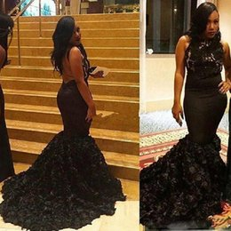 $enCountryForm.capitalKeyWord Australia - Gorgeous Black Mermaid Prom Dresses Lace Bodice Backless Party Gowns With Ruffle Skirt 2018 Vestido Festa Evening Party Gowns Black Grils