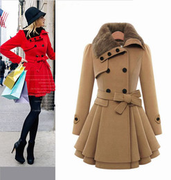 Cheap red Coats women online shopping - NEW CHEAP Quality Winter Wool Coat Women with Big Faux Fur Collar Double Breasted Elegant Oversized Winter Camel Coat CAF214