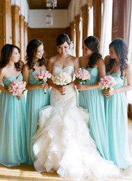 Ivory damas dresses online shopping - 2018 Mint Green Empire Long Bridesmaids Dresses Chiffon Sweetheart Neck Chiffon Vintage Maid Of Honor Gowns Vestidos Damas De Honor