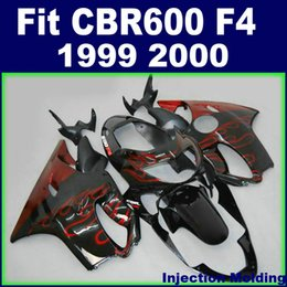 cbr f4 fairings NZ - 7Gifts + Injection molding customize for HONDA fairings CBR600 F4 1999 2000 red flame in black 99 00 cbr 600 f4 fairings kits ECFG