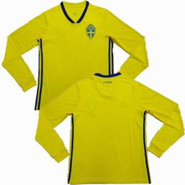 e41b9b4e8 Sweden 2018 2019 Long sleeve Soccer Jersey 18 19 national team S SANTO  IBRAHIMOVIC KALLSTROM UARDRD Thai quality football shirt