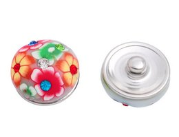 Snap Drill Canada - #26 flower pattern with colorful rhinestone clay drill about 5.5mmDIY round buttons 18mm personality snap button noosa button giner button
