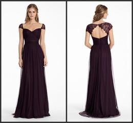 825ef6f58 Vestidos de damas de honra 2015 Ameixa Inglês Net A linha longa decote  querida vestido de festa Formal Lace Cap manga Keyhole Zipper vestidos de  noite