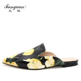 $enCountryForm.capitalKeyWord Canada - Fanyuan 2017 Genuine Leather Women Mules Fashion Summer Slippers Sexy Pointed toe Flower Sandal Shoes Low heel flip flops
