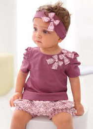 Discount hair ribbons flowers small - Baby Suit Baby Girl Purple Short sleeve T-shirt+Small Broken Flower Shorts Pants+Hair Ribbon Children's Clothing B0