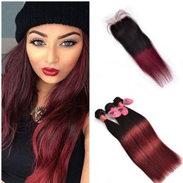 two tone straight closure NZ - 99J Wine Red Human Hair Bundles With Lace Closure Two Tone Colored 1b 99j Burgundy Straight Lace Closure With Bundles 4Pcs Lot
