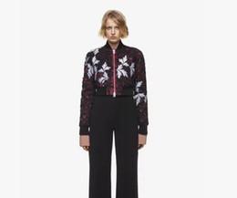 $enCountryForm.capitalKeyWord UK - Autumn winter New design women's stand collar long sleeve flower applique lace short jacket baseball coat high waist tops SML