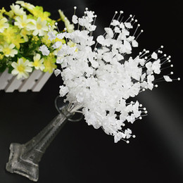 Barato Cartão Branco Pérola-200pcs / lot 27cm DIY Flower Pearl Spray Stems White Wedding Invitation Card Candy box Acessórios wa128
