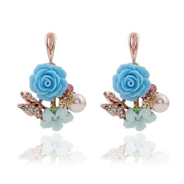 $enCountryForm.capitalKeyWord UK - Cheap Promotion Real Rose Gold Plated Ring Earring Sets for Women Two Colors Flower Shape With Charm Pearl Fashion Rhinestone Jewelry JS0059
