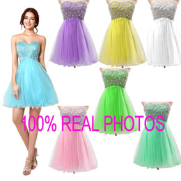 Barato Azul Coquetel De Cocktail Imagens-Sweetheart Beads Homecoming Vestidos Tulle Plus Size Sexy Mint Sky Blue Uma linha Short Prom Party Graduation Cocktail Gowns 2015 Real Image