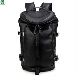 Benzersiz tasarım yüksek kaliteli deri adam sırt çantaları erkekler seyahat çantası duffel çanta siyah 15.6