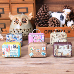 Discount metal sweet boxes - 20pcs Retro Suitcase Candy Box Sweet Love Wedding Party Gift Jewelry Tin plate Boxes Mix 6 Style New