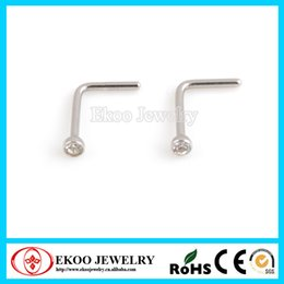 Nose Ring Screw Stud Canada - 316L Surgical Steel L Shaped Nose Stud Screw with Crystal Indian Nose Stud Lots of 100pcs
