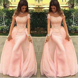 Discount plus size formal mermaid skirt - Charming Mermaid Slim Evening Dresses Detachable Skirt Middle East Capped 2018 Pink Applique Long Party Prom Gowns Dress