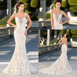Zuhair Murad Mermaid Wedding Dresses NZ - Charming Zuhair Murad Sexy Backless Mermaid Ruched Full Lace Ruffle Wedding Dresses Applique Bride Dress with Long Train Bridal Gowns