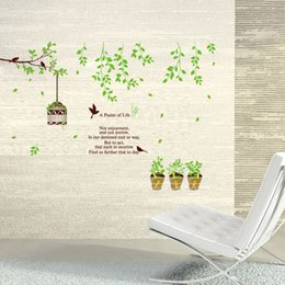 Tree Branches Wall Canada - Pastoral Life Wall Art Mural Decor A Psalm of Life Wall Quote Decal Sticker-- Green Tree Branch Birds Birdcage Planter Wallpaper Decoration