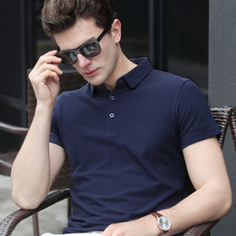 long sleeved polo shirts Canada - Poloshirt shirt men New men's short-sleeved t-shirt lapel men's short-sleeved solid color men's t-shirt polo shirt