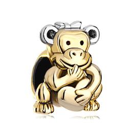 $enCountryForm.capitalKeyWord UK - Personalized jewelry Monkey Hold Heart Love Bowknot European spacer bead metal charm bracelet with big hole Pandora Chamilia Compatible