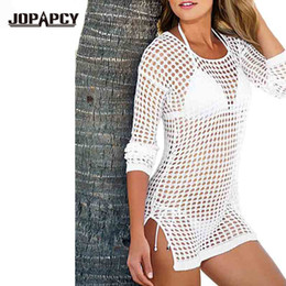 Barato Cobertura Sexy Fina-Venda por atacado - 2017 Summer Sexy Hollow Out Mulheres tricotadas Sweater Long Sleeve Loose Beach Swimwear Cover Up Casual Thin Coat NAY0225