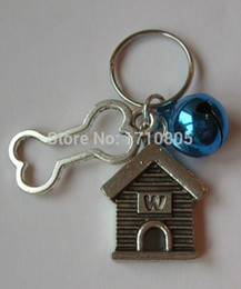 Wholesale Bell Housing NZ - Hot 50pcs Lot Ancient Silver Bone House&Mix Bell Charm Anti-Theft Keychain Circle Accessories Women Jewelry Holiday Gifts A255