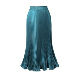 Barato Senhoras Multi Cor Saias-Maxi Long Skirt Comprimento do tornozelo Ladies High Waisted Saias Mulheres Solid Color Satin Saias Longa 2017 Feminino Formal Jupe Femme