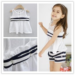 cute outfits tank tops NZ - 2017 Summer New Girls Clothes 2pcs Set Navy Style Tank Tops+Stripe Shorts Outfits Children Clothing Ruffles Sleeveless Tshirt Sets H3441