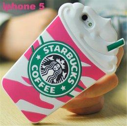 Meilleure vente Mignon 3D Cartoon Case Cover Starbucks Unique Style Silicone Couverture de téléphone Cas Pour iPhone 5 5S 5G iphone 6 en Solde
