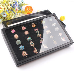 Show Case Displays Canada - Whole sale Rings Organizer Show Case Jewelry Display Rings Holder Box New Black 100 Slots Ring Storage Ear Pin 4 pieces lot